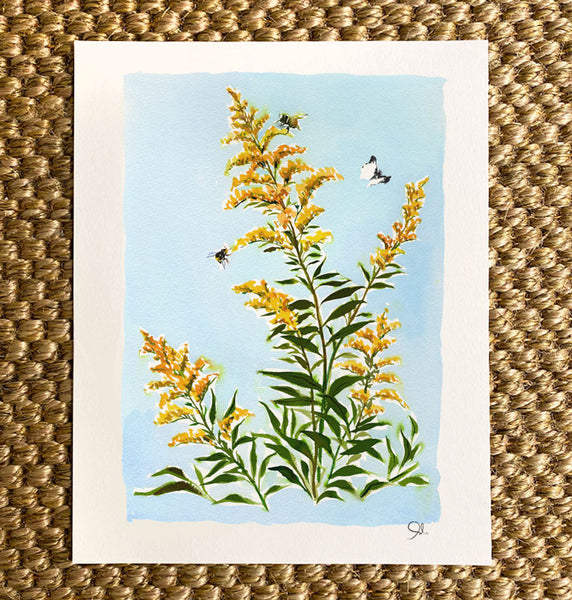 Large Botanical Print: Goldenrod on Blue