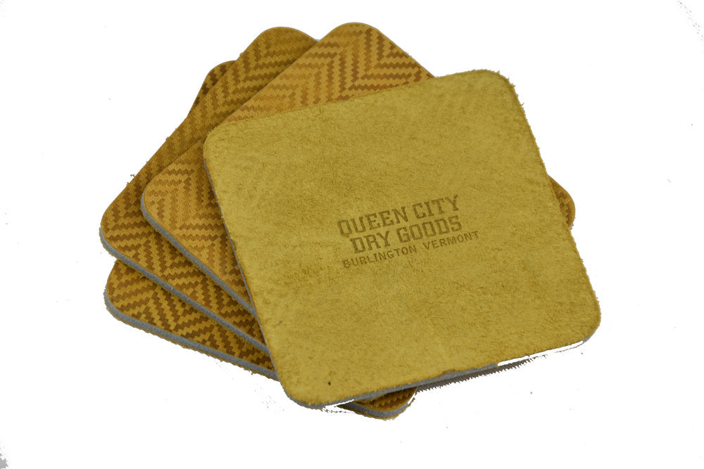Herringbone Leather Coaster Set