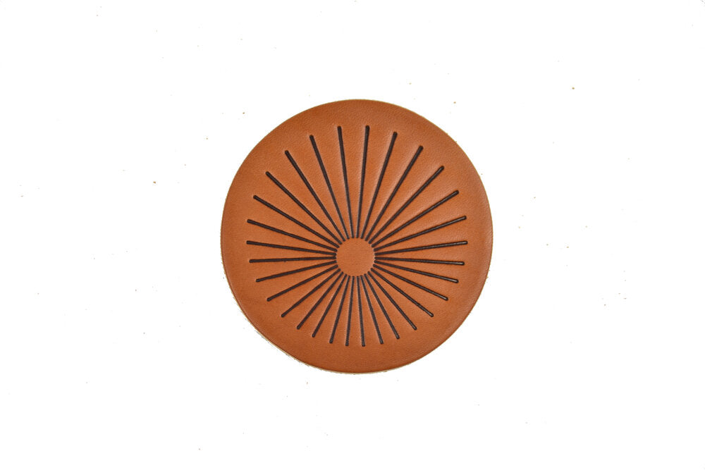 Sun Burst Leather Coaster Set