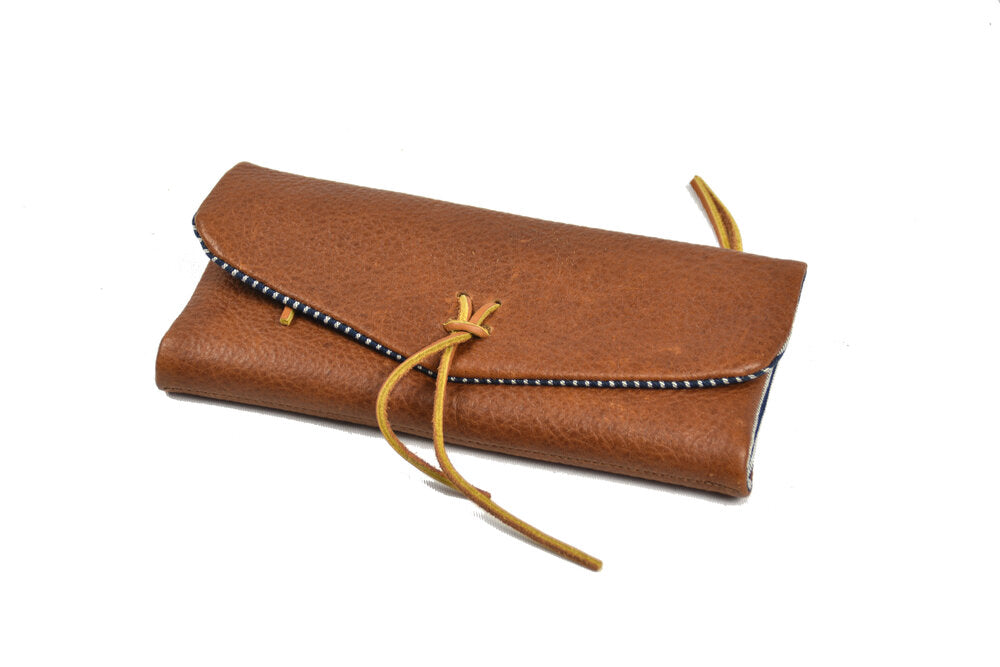 Leather Trifold Clutch in Brown/Pinstripes