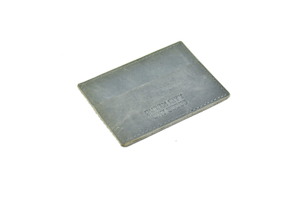 Leather Card Case - Horizontal in Steely Blue
