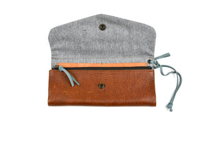 Leather Trifold Clutch in Brown/Steely Blue