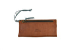 Load image into Gallery viewer, Leather Trifold Clutch in Brown/Steely Blue