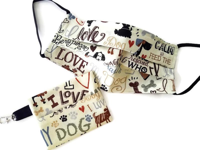 Love My Dog Face Mask with (optional) Clean & Carry Pouch