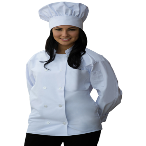 "I901 Long Sleeve Chef Coat Chest Pocket & Sleeve Pocket 2XL: 50""L x 52""W Made In The USA -ITS Global Supply"
