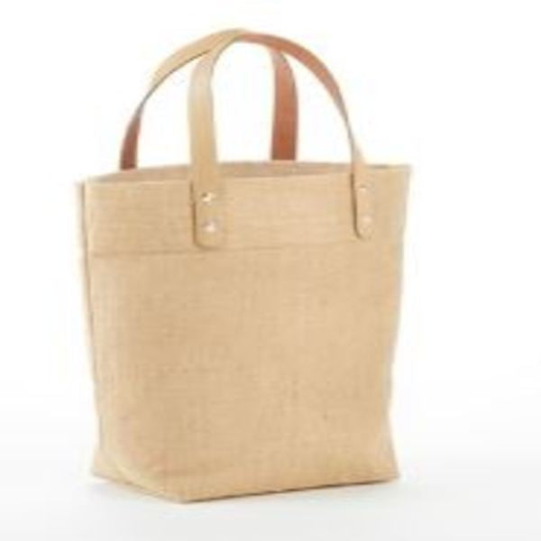 IJ915-MINI JUTE GIFT TOTE BAG WITH LEATHER HANDLES. -ITS Global Supply