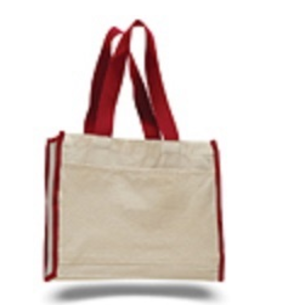 IQ1100-Heavy Canvas tote bag with web handles. Side pocket. Full side and bottom gusset. -ITS Global Supply