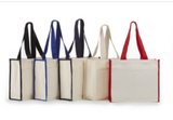 ITB800 Canvas Tote Bag With Color Rope Handles & Matching Side Trim Material -ITS Global Supply