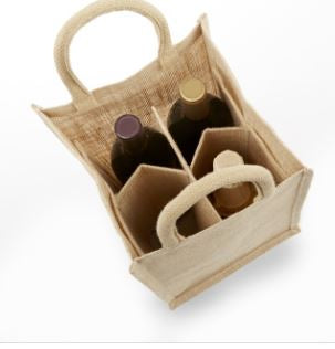 IWB4 Solid 4 Bottle Jute/ Burlap Wine Bag Solid front and back natural jute wine tote -ITS Global Supply