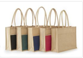 Ij902 Stylish All Natural Jute/Burlap 2 Tone Shopping Totes -ITS Global Supply