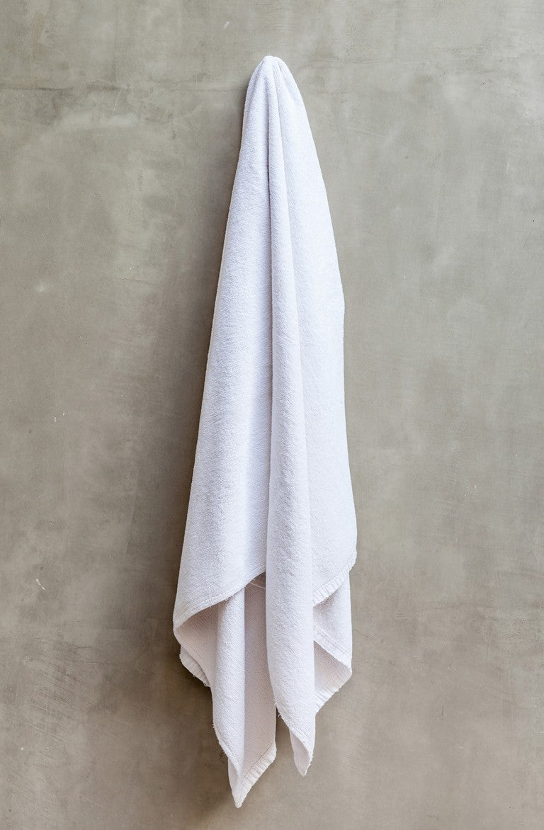 IBT3060 Blank WHITE TERRY/ LOOP HEMMED WHITE BEACH TOWEL 30X60 -ITS Global Supply