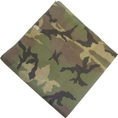 IB5202 Blank 100% Micro-Polyester WOODLAND CAMOUFLAGE Bandanna -ITS Global Supply