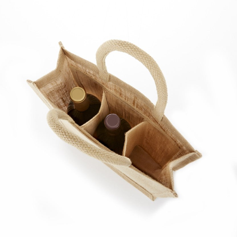 IWB3S SOLID FRONT 3 BOTTLE JUTE WINE BAG -ITS Global Supply