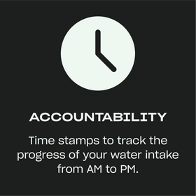 Accountability — Time stamps to track the progress of your water intake from AM to PM.