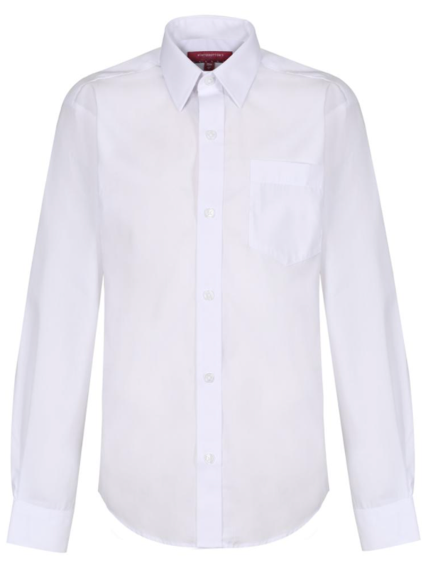 Boys Long Sleeve White Shirt - 2 in a PACK (NON-IRON)