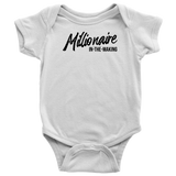 Millionaire-in-the-Making Onesie (Baby Bodysuit w/Black letters)