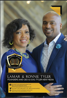 Image of the front of Lamar & Ronnie Tyler's flashcard with their company name, website, and social media handles.
