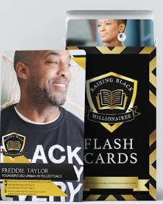 Image of the front of Freddie Taylor's flashcard with their company name, website, and social media handles. Second image is of the flashcards box with Nicole Brown's flashcard sticking out the top of the opened box.