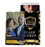 Image of the front of Lamar & Ronnie Tyler's flashcard with their company name, website, and social media handles. Second image is of the flashcards box with George C. Fraser's flashcard sticking out the top of the opened box.
