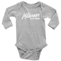Millionaire-in-the-Making Long Sleeve Onesie (Sizes 6M-18M)