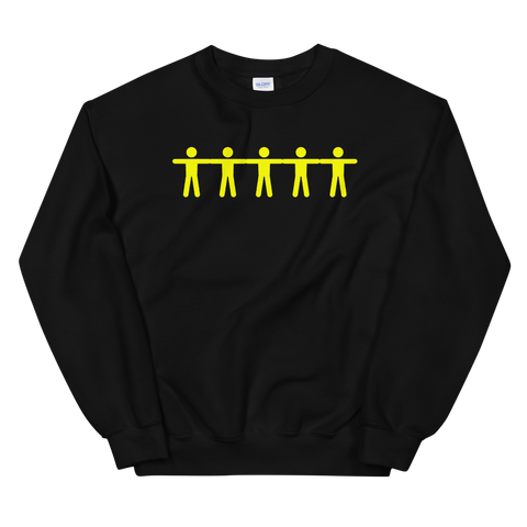 YELLOW BODY BLACK CREWNECK