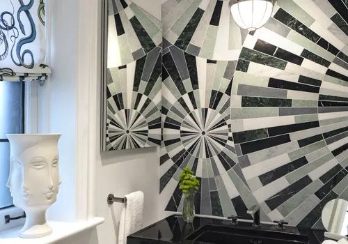 makeover of the week - Courtney McLeod bathroom mosaic wall