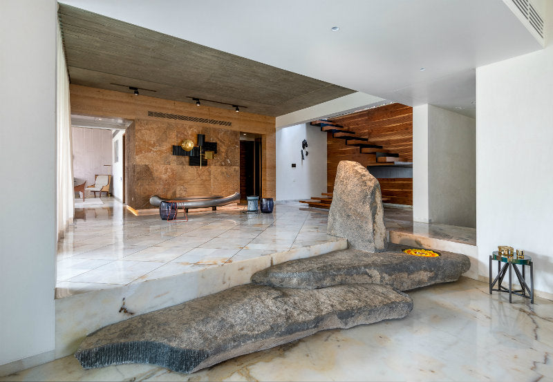 interior with stone accent