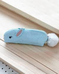 Spring bunny pencil case - blue