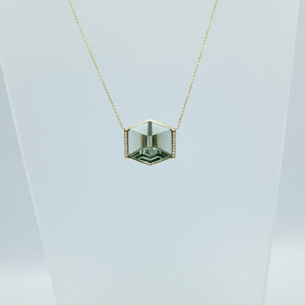 Green Quartz Cube Necklace