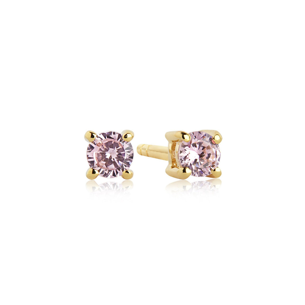 Sif Jakobs Princess Piccolo Stud Earrings - 18 Carat Gold Plate & Pink Zirconia