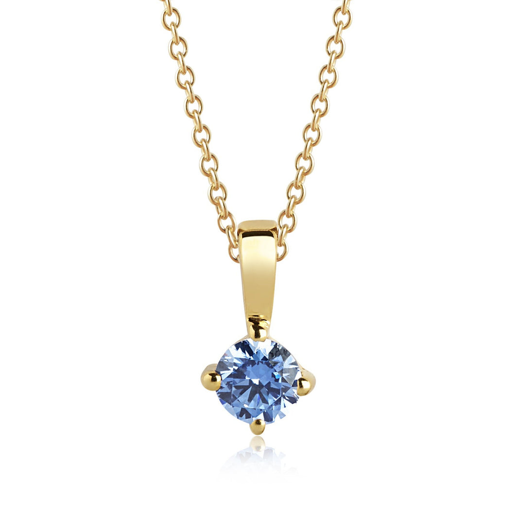 Sif Jakobs Princess Piccolo Necklace - 18 Carat Gold Plate & Blue Zirconia