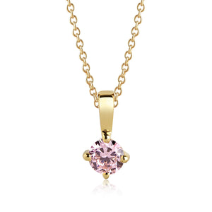 Sif Jakobs Princess Piccolo Necklace - 18 Carat Gold Plated & Pink Zirconia