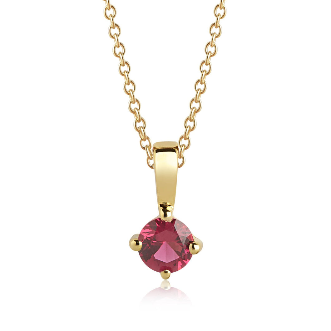 Sif Jakobs Princess Piccolo Necklace - 18 Carat Gold Plated & Red Zirconia Necklace