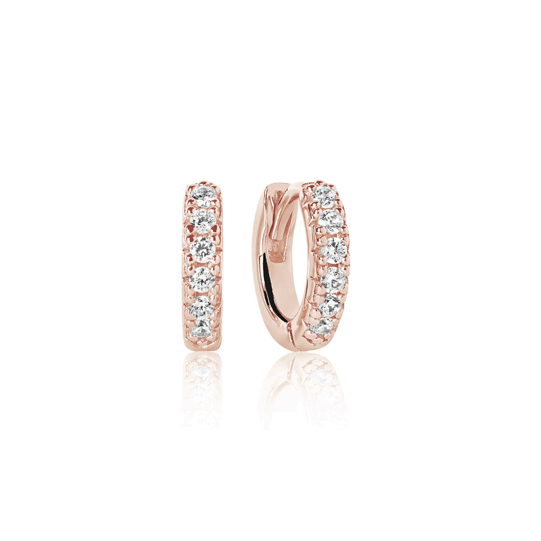 Sif Jakobs Ellera Piccolo Hoop Earrings – 18 Carat Rose Gold Plate & White Zirconia