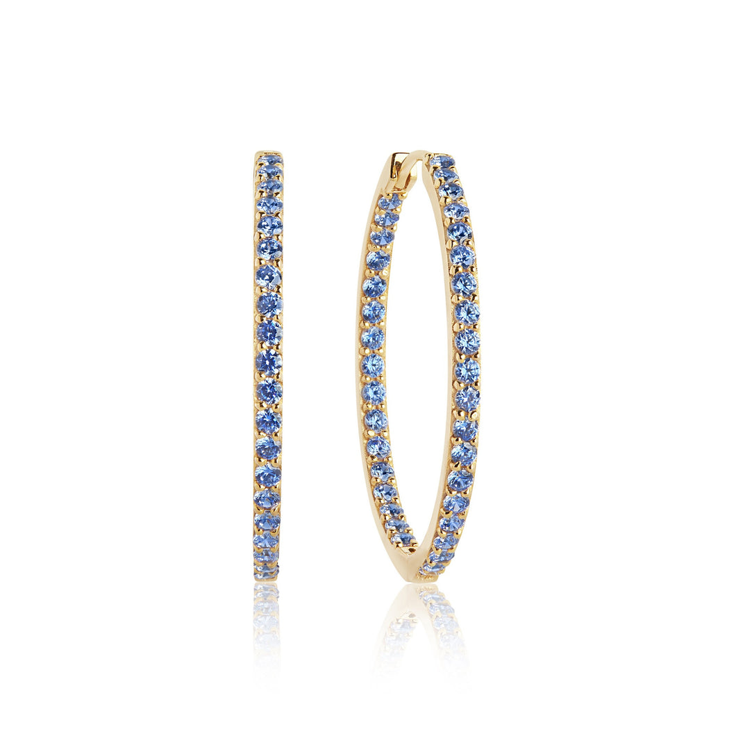 Sif Jakobs Bovalino Hoop Earrings – 18 Carat Yellow Gold Plate & Blue Zirconia