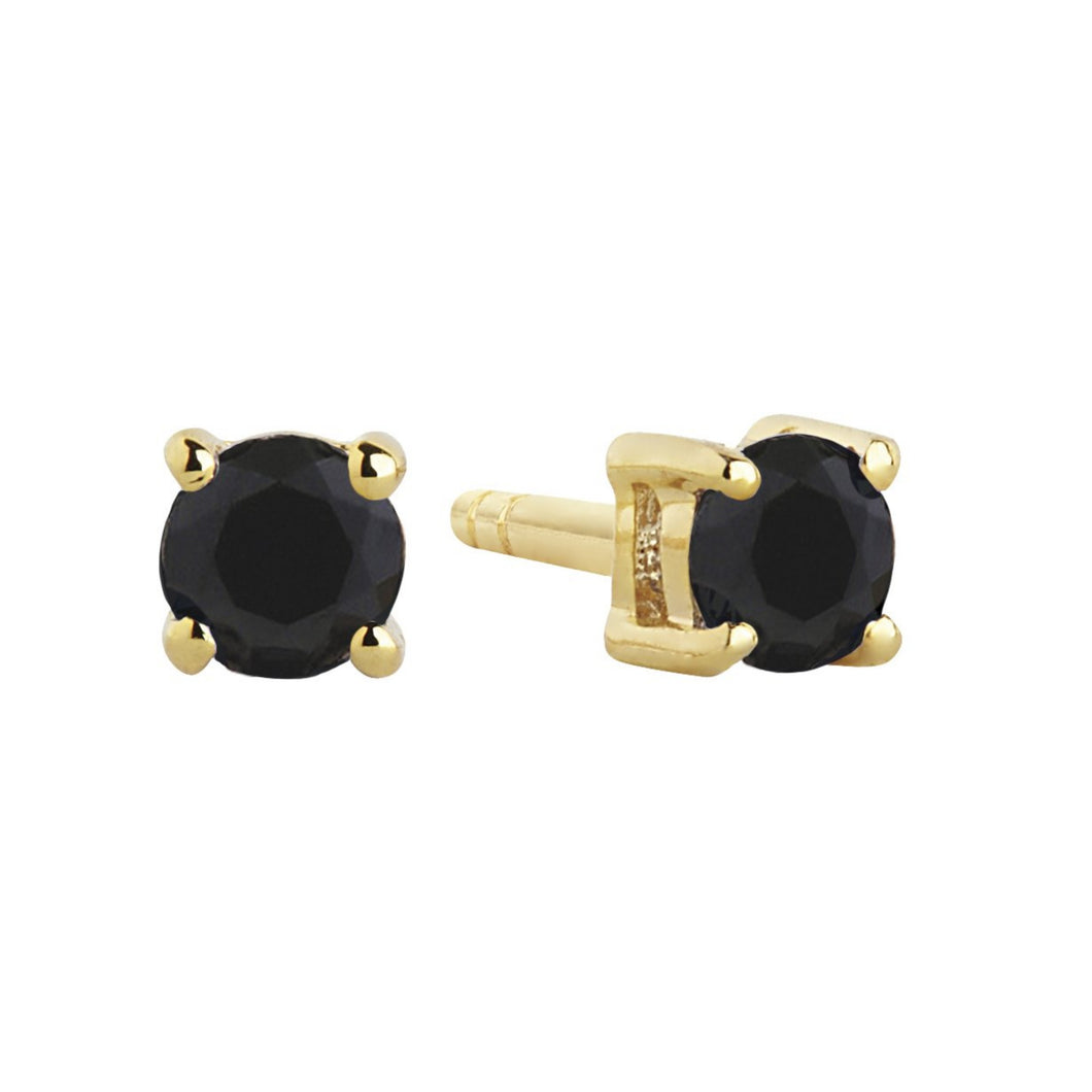 Sif Jakobs Princess Piccolo Stud Earrings - 18 Carat Gold Plate & Black Zirconia