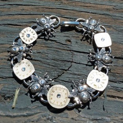 """Bee On Time"" This Bracelet Is UnBEElievable! Antique Silver Bees And Antique Watch Faces Accented With Swarovski Crystals"