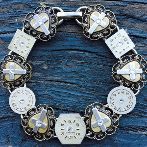 """Time For Prayer"" Bracelet Brass Heart Medalion With A Silver Cross and Swarovski Crystals Separated By Antique Watch Faces."