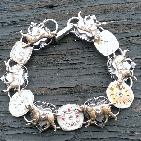 """Time To Walk The Dog"" Bracelet Antique Silver Dog Running Madallions Altering Genuine Antique Watch Faces Blinged Out With Swarovski Crystals"