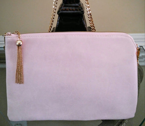 Elegant Powder Pink  Clutch With Drop Tassel