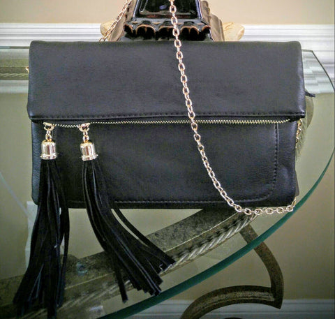 Black Elegant Fold Over Clutch With Double Drop Tassels