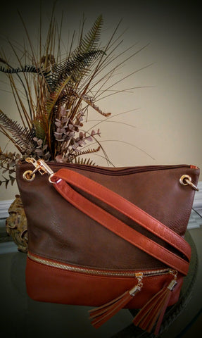 Brown w/ Pumpkin accents Crossbody Bag