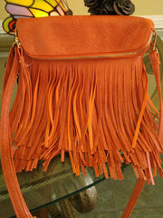 BoHo Festival Pumpkin Doubled Layered Fringed Crossbody Fold Over Bag