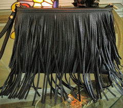 Boho Festival  Double Fringed Black Clutch