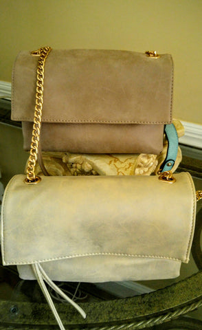 Beige and Grey Marbled Faux Leather Flap Over Clutch With Turquoise Accents .  Tan And Dark Brown Faux Leather Fold Over Clutch