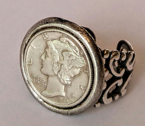 Mercury Head Dime In A Bezel On A Beautifully Crafted Adjustable Ring