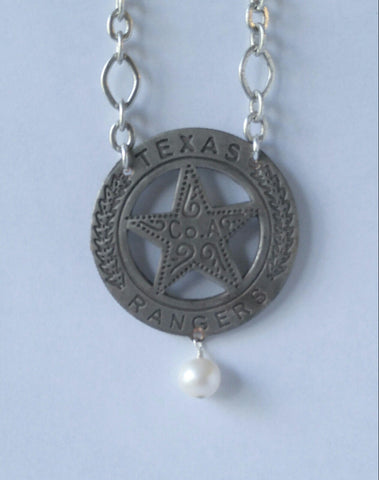 "Law & Order Texas Ranger Badge Necklace With A Beautiful Swavorski Pearl On A 18"" Sterling Silver Chain"