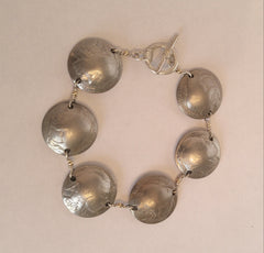 "Sterling Mercury Dime Domed Bracelet.  ""Such A Statement Peice"""