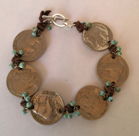 "Heads & Tails Buffalo Nickel & Turquoise Deerskin Bracelet. "" Love Love Love This"""