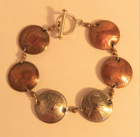 "History Of A Penny Domed Bracelet "" A Wonderful Conversation  Peice"""